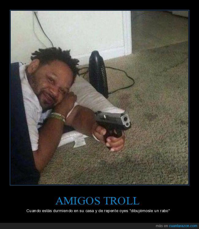 alerta,amigos,atento,dormir,pistola