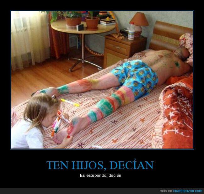 cama,hijos,niña,piel,pintar,pintura,rotuladores