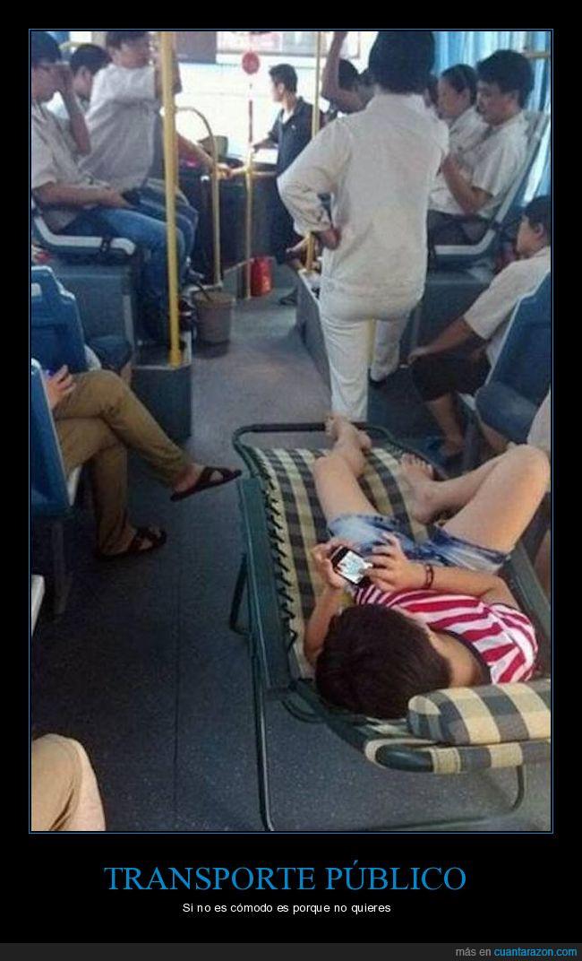 autobús,público,smartphone,transporte,tumbona