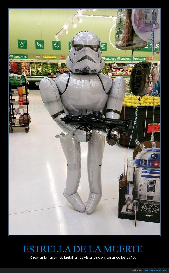 arma,blanco,death star,estrella de la muerte,ganas,mear,stormtrooper,supermercado,traje