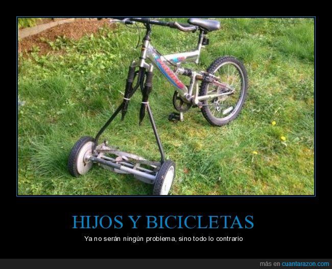 bicicleta,césped,hijo,jardín,rueda