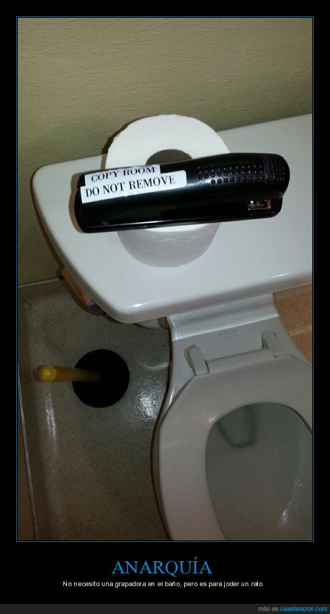 anarquía,grapadora,lavabo,norma,nota,papel higiénico,váter