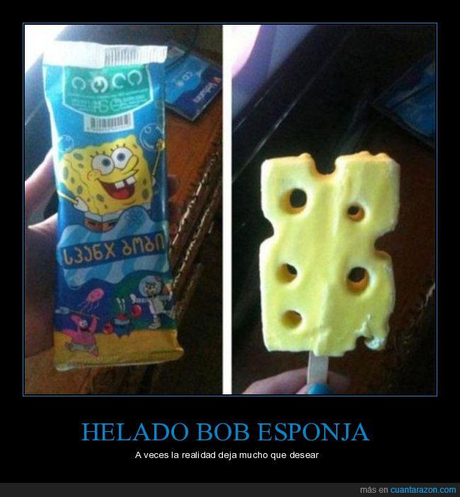 bob esponja,expectativa,helado,realidad