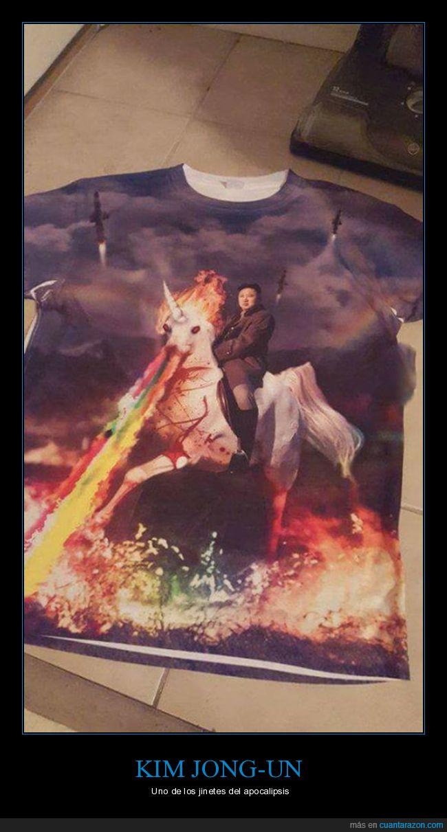 camiseta,estampado,Kim Jong-un,playera,unicornio saca-fuego