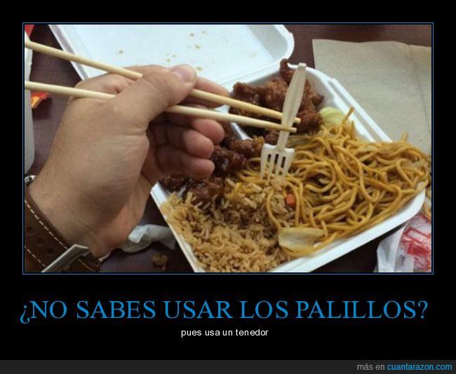 Chino,palillos,pasta,tenedor