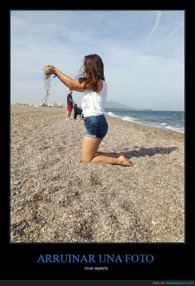 arruinar fotos,chica,machos,playa