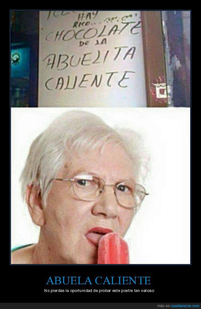 abuela,caliente,chocolate,gafas,helado,lamer