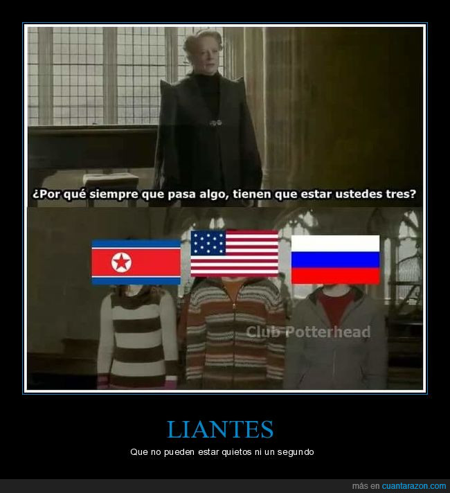 banderas,Corea del Norte,Estados Unidos,Harry Potter,liarla,Rusia,USA