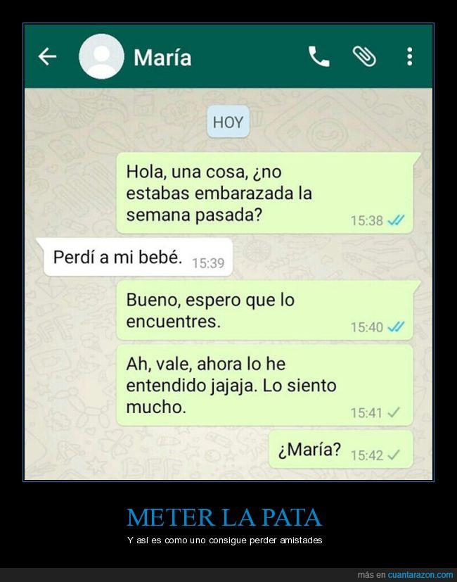 bebé,chat,embarazada,María,meter,pata,perder,whatsapp