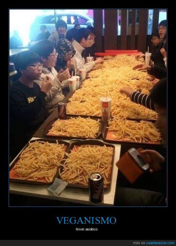 chinos,patatas fritas,veganos