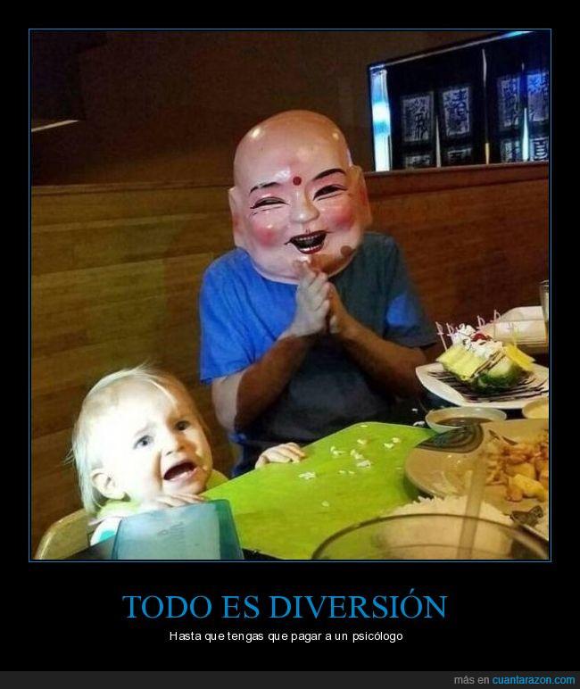 cara,diversión,máscara,mesa,miedo,restaurante,susto