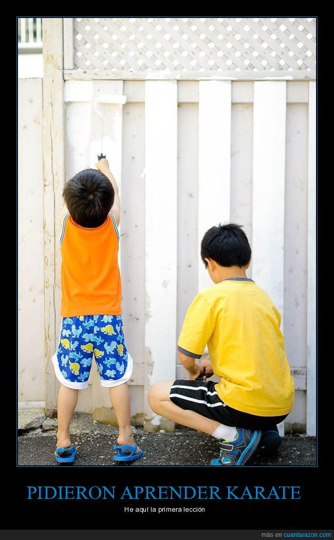cerca,humor,karate kid,niños,pintar,valla