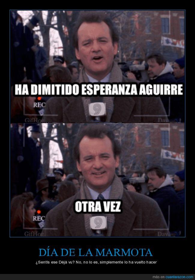 Déjà vu,día,Esperanza Aguirre,marmota,política,televisión