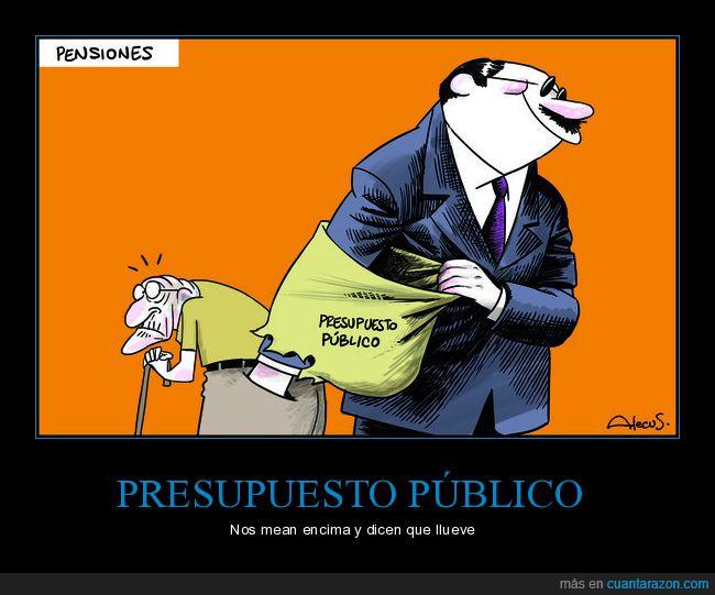 bolsillo,cara duras,pensiones,políticos,presupuesto,público,señor
