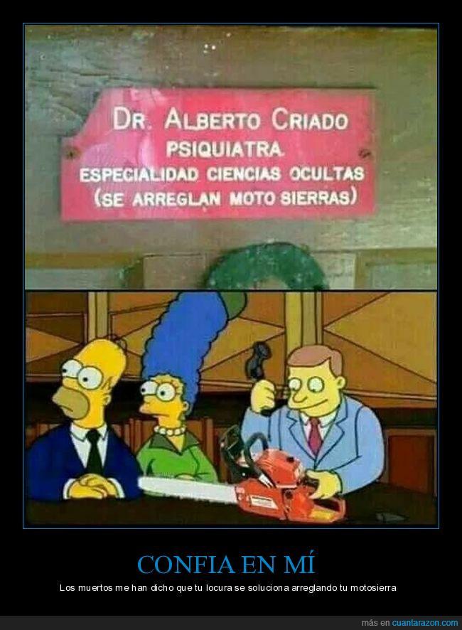 abogados,motosierra,multiprofesion,psiquiatra,Simpsons