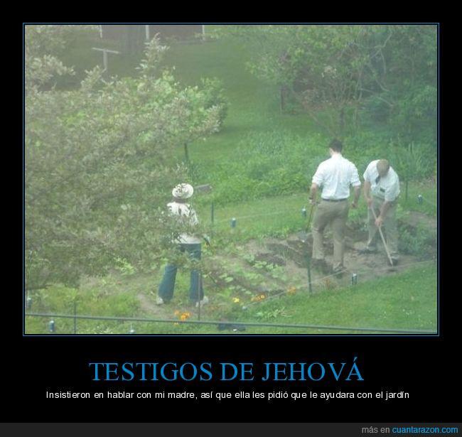 hablar,insistir,jardín,madre,plantar,testigos de Jehová,tierra