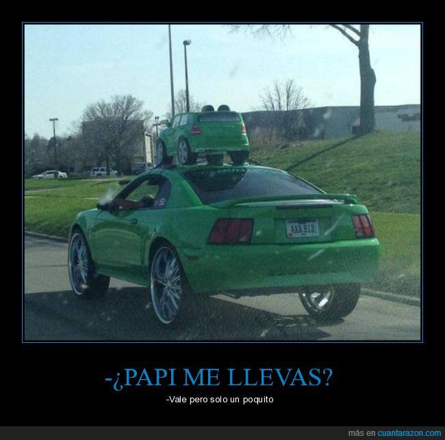 carretera,coche,cochecito,encima,padre,verde