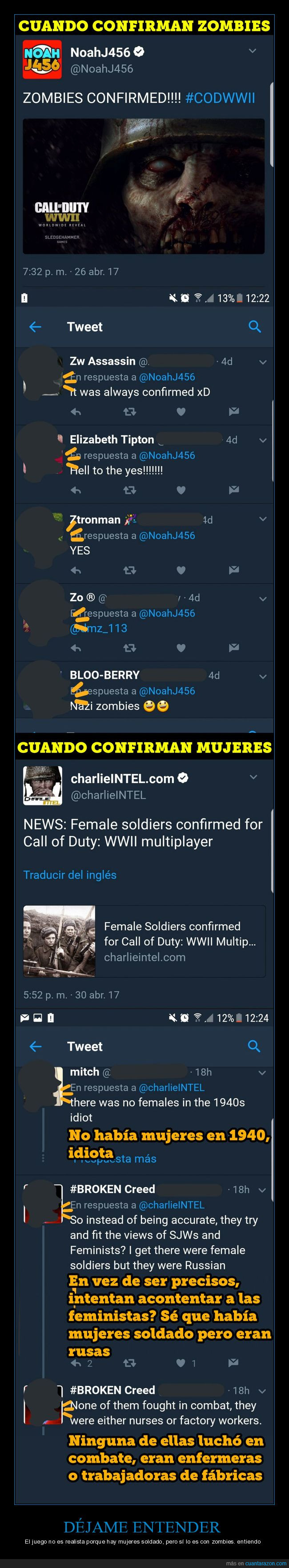 call of duty,doble moral,mujeres,videojuegos,zombies