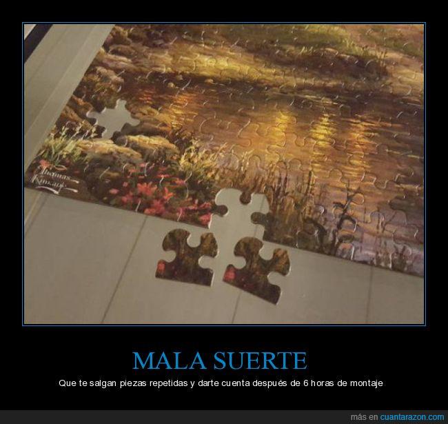 iguales,mala suerte,piezas,puzzle,repetidas