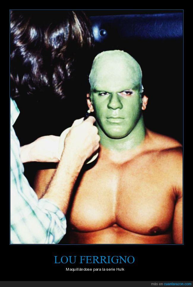 Hulk,Lou Ferrigno,maquillaje.Marvel