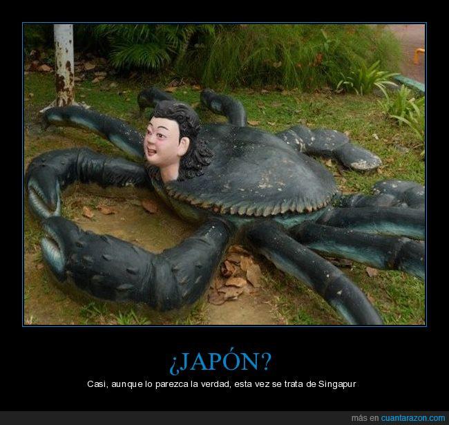 cabeza,cangrejo,escultura,estatua,japón,raro,singapur