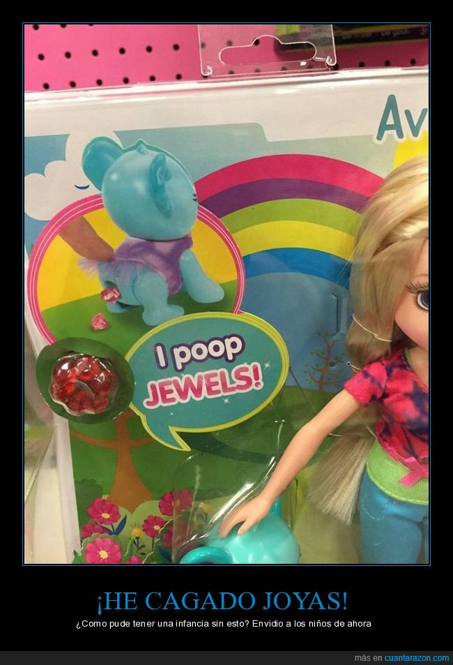 cagar,caja,envidia,joyas,juguete,muñeca,niñas,niños,perro,regalo