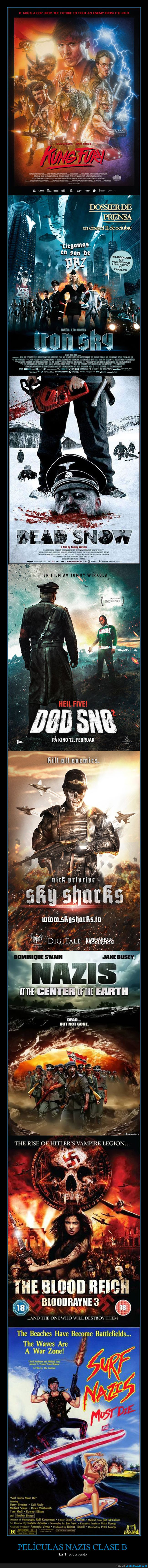 clase b,Dead Snow,dinosurios,Iron Sky,Kung Fury,películas nazis,policias,Sky Sharks,surfers,The blood Reich,vampiros,zombies