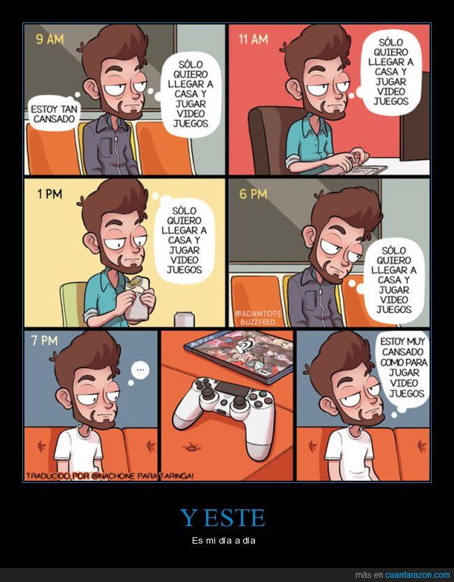 autobús,cansado,comida,trabajo,videojuegos