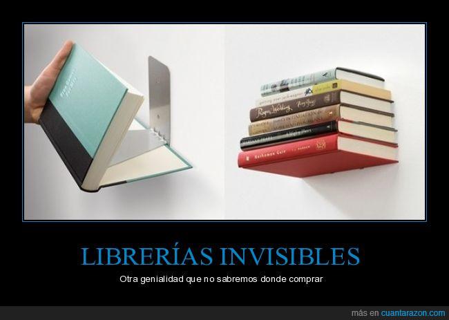 creativo,estantería,invisible,librería,libros