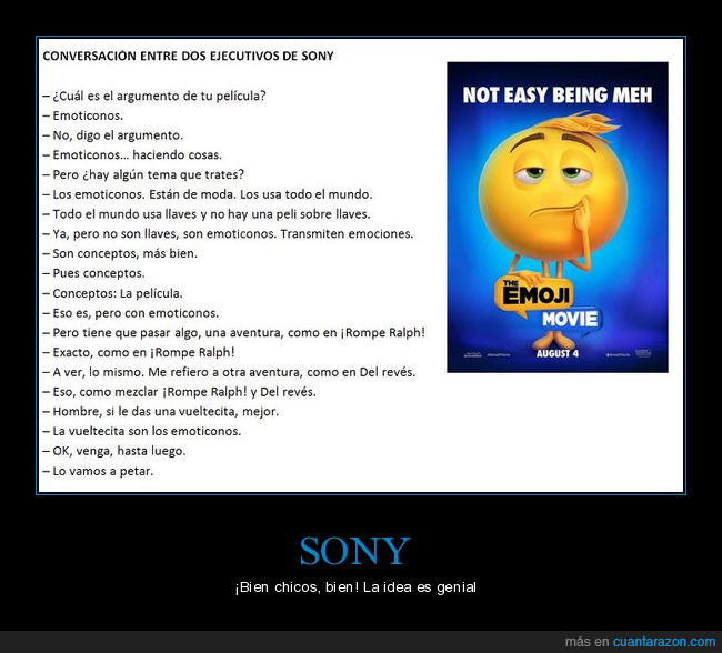 concepto,conversa,emoji movie,emoticonos,genialidad,sony