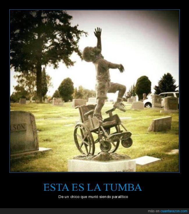 chico,lo hizo su padre,paralítico,silla de ruedas,tumba