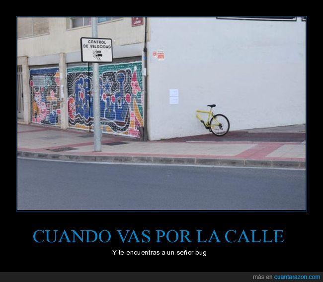 bicicleta,bug,calle,pared,videojuego