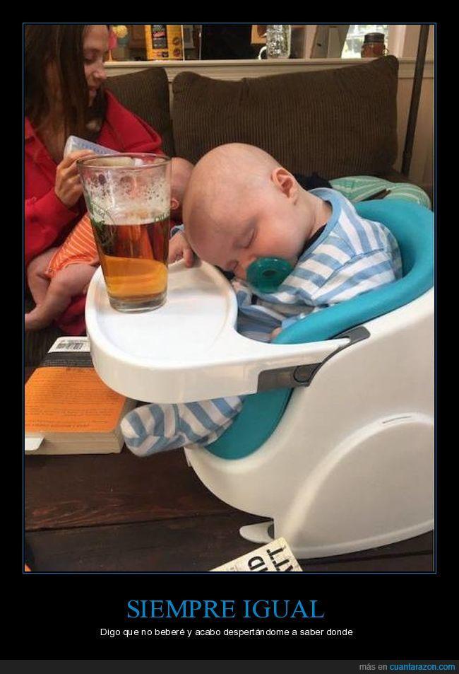 bebé,beber,caña,cerveza,despertarse,dormir,resaca