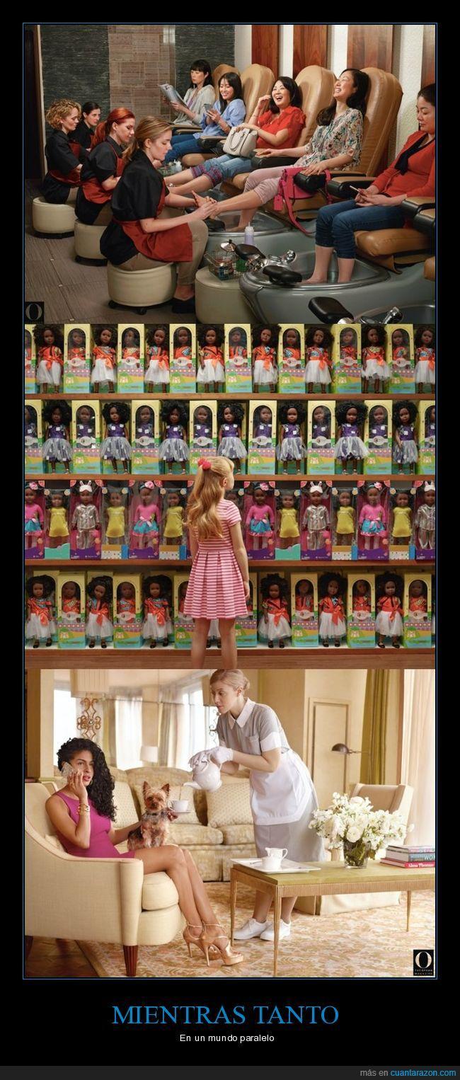 mujeres blancas,negras,raza,sirvientes