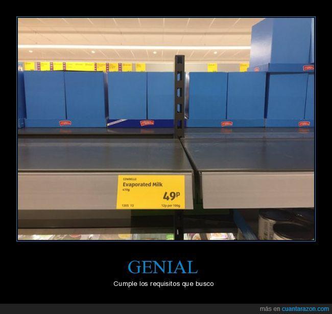 inglés,leche evaporada,requisito,supermercado