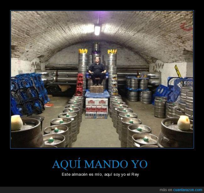 almacén,barriles,cerveza,rey,trono