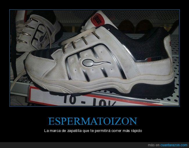correr,esperma,espermatoizon,espermatozoide,zapatilla,zapato