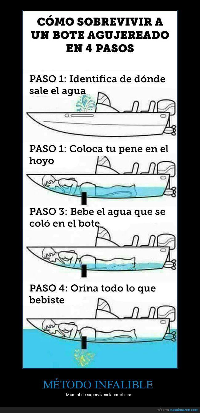 barca,bote agujereado,sobrevivir