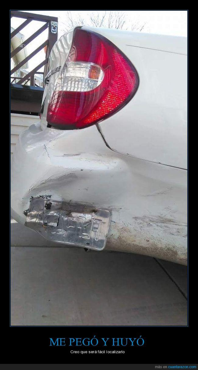 coche,golpe,matrícula,placa