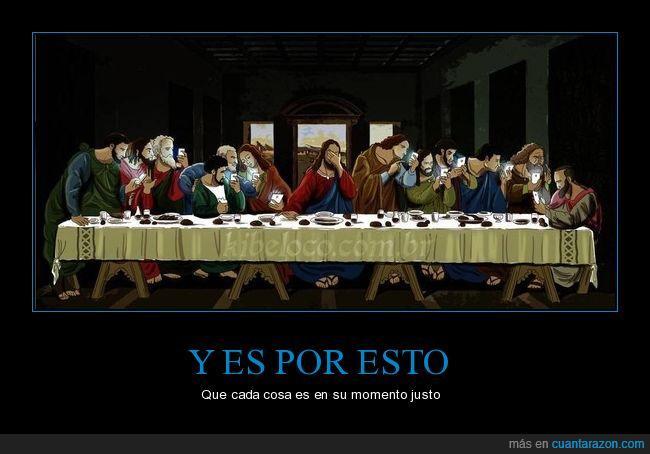 humor,jesús,religión.última cena,smartphone