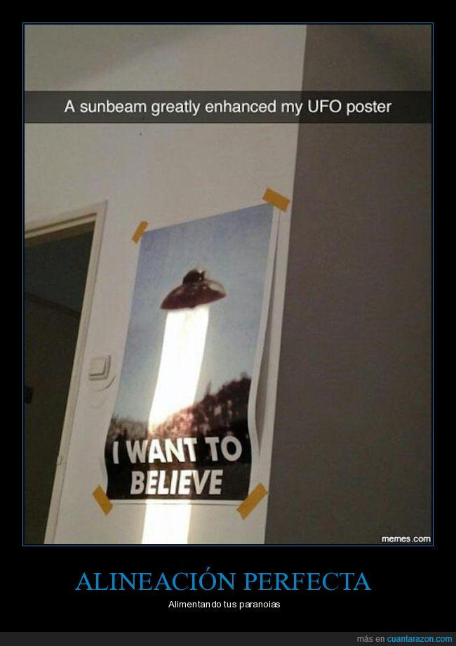luz,OVNI,póster,sol,UFO