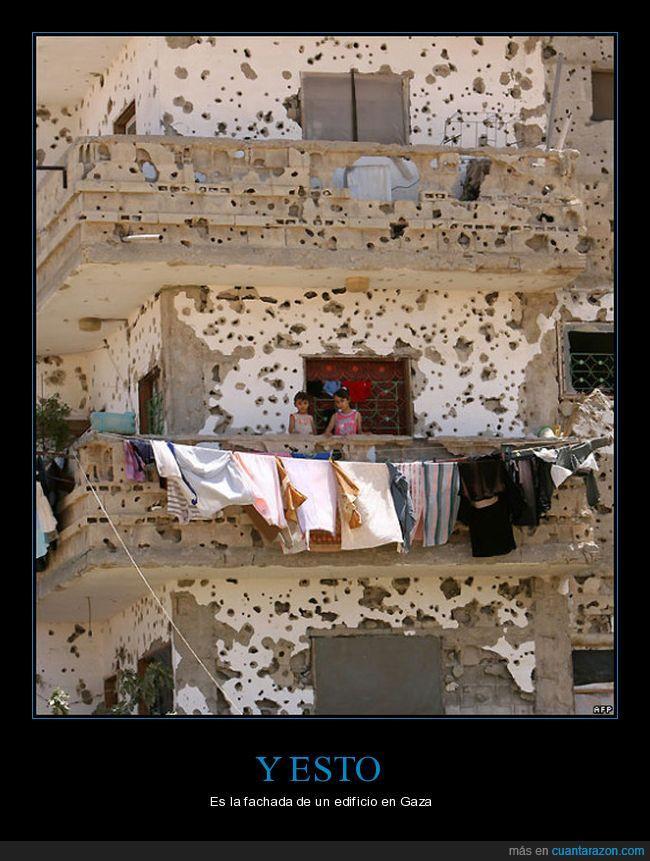 acribillado,edificio,Gaza,guerra,metralla,niños