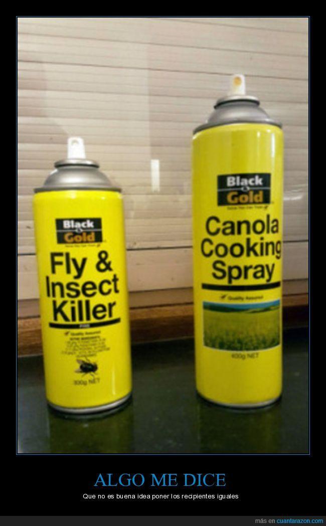amarillo,insecticida,se puede confundir fácil,spray para cocinar
