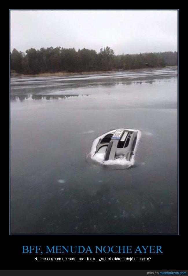 beber,coche,congelado,fiesta,frío,lago,resaca