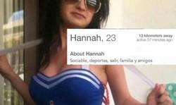 Enlace a El perfil de Tinder de Hannah una chica muy sociable con unos gustos un tanto
