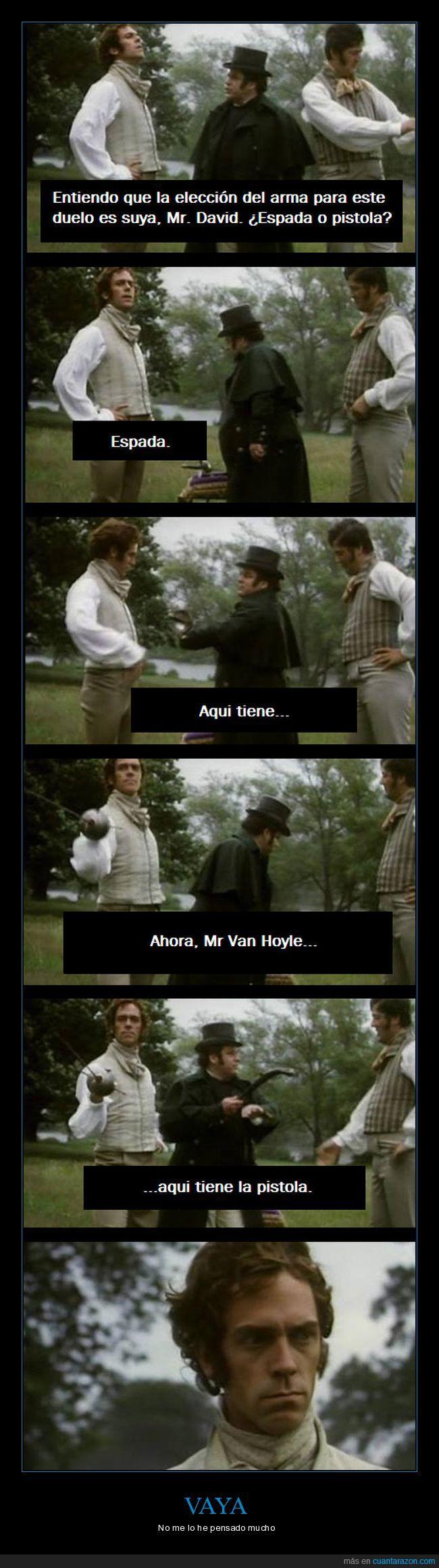 duelo,época,espada,Fry,Hugh Laurie,pistola,Serie