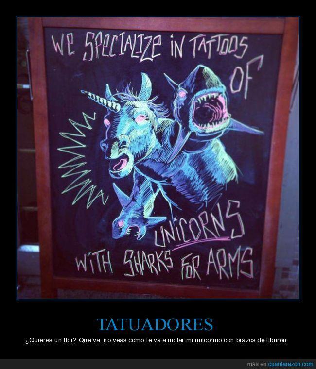 brazos,dibujo,pizarra,tatuaje,tiburón,unicornio