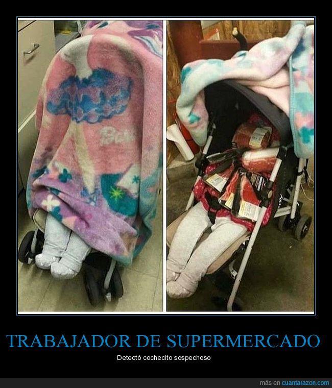 bebé,carrito,comida supermercado,robo