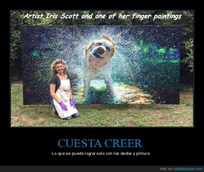 dedos,Iris Scott,perro,pintura,realismo