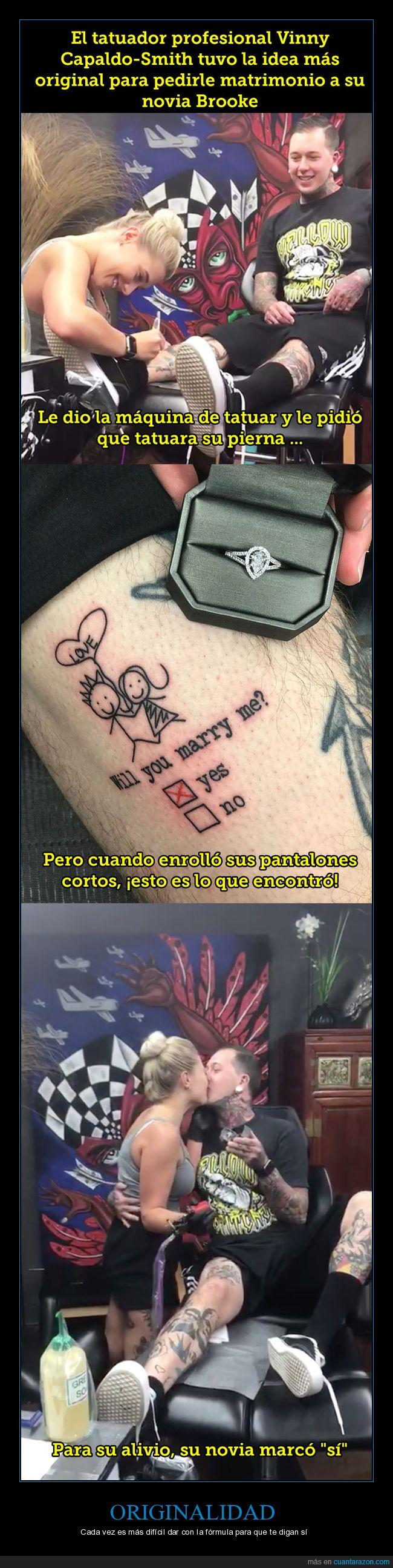 no,pierna,propuesta de matrimonio,sí,tatuaje